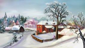 Paisaje rural en día de invierno ilustración del vector