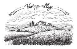 Paisaje rural en estilo gráfico libre illustration