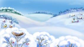 Paisaje rural en Frosty Winter Day libre illustration