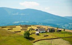 Paisaje rural en las montañas, cárpatas, Ucrania Imagen de archivo