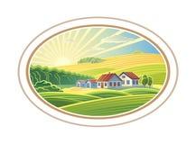 Paisaje rural en marco stock de ilustración