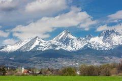 Paisaje rural en un fondo de montañas coronadas de nieve Foto de archivo libre de regalías