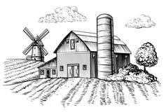 Paisaje rural, granero de la granja y bosquejo del molino de viento libre illustration