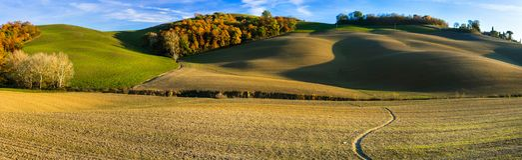 Paisaje rural idílico y paisajes pintorescos de Toscana AIE foto de archivo