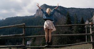 Paisaje rural La mujer apta con los brazos aumentó victoriosamente la celebración de alza acertada de la tarde en la puesta del s almacen de video