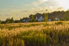 Paisaje rural por la tarde en la puesta del sol Silueta del pueblo contra el cielo hermoso de la tarde de la pendiente Paisaje de imagen de archivo libre de regalías