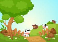 Paisaje rural y vacas ilustración del vector