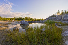 Paisaje ruso hermoso en verano Karelia Imagen de archivo