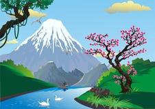 Paisaje - Sakura en la orilla del río Montaje Fuji Pescador en el río stock de ilustración