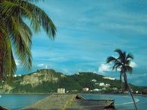 Paisaje San Juan del Sur Nicaragua de la playa con la estatua Jesus Chr Imagen de archivo libre de regalías