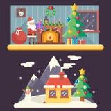 Paisaje Santa Claus Accessories de la casa del Año Nuevo del sitio Ilustración del Vector