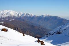 Paisaje Santiago, Chile Nevado Imágenes de archivo libres de regalías