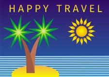 Paisaje simbólico de la historieta Isla con las palmeras, el mar y el sol ilustración del vector