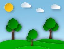 Paisaje soleado de la naturaleza con los árboles y el prado en el estilo de papel del arte Diseño de la tarjeta de felicitación Foto de archivo