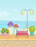 Paisaje soleado de la orilla del mar de la historieta, fondo de la playa del vector Cerca de piedra, plantas, flores, bancos, pav Ilustración del Vector