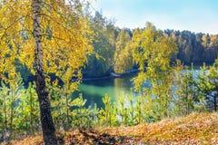 Paisaje soleado del otoño en el río Foto de archivo libre de regalías