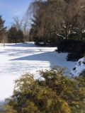 Paisaje suburbano del invierno Foto de archivo libre de regalías
