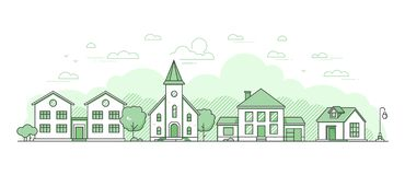 Paisaje suburbano - línea fina moderna ejemplo del vector del estilo del diseño
