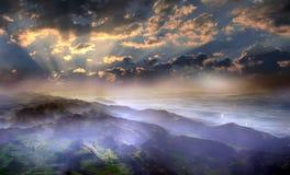 Paisaje suizo en la salida del sol ilustración del vector