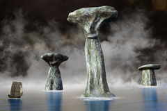 Paisaje surrealista alto del océano del velero Imagen de archivo libre de regalías