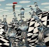 Paisaje surrealista del ajedrez Fotos de archivo