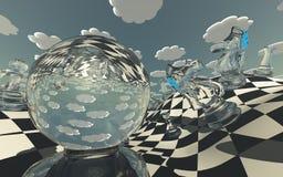 Paisaje surrealista del ajedrez Imagen de archivo libre de regalías