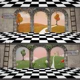 Paisaje surrealista del tiempo de primavera y del tiempo del otoño stock de ilustración