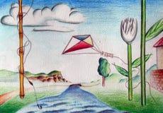 Paisaje surrealista del verano Imagen de archivo libre de regalías