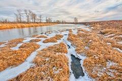 Paisaje texturizado del invierno del río del arco, Calgary Imagen de archivo