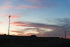 Paisaje Toscana de la puesta del sol Fotos de archivo libres de regalías