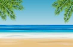 Paisaje tropical con el mar, la playa arenosa y las palmeras - vector fotos de archivo