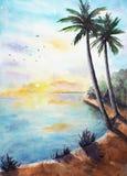 Paisaje tropical de la puesta del sol stock de ilustración