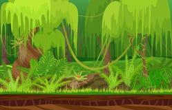 Paisaje tropical del bosque de la selva de la lluvia de la naturaleza del color de la historieta en día del sol con la hierba Foto de archivo