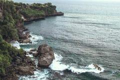 Paisaje tropical Isla de Bali, Indonesia Aero- tiro de la playa Imagen de archivo