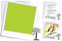 Paisaje tropical Resto por el mar Capítulo para el libro de recuerdos, bandera, etiqueta engomada, s Fotografía de archivo libre de regalías