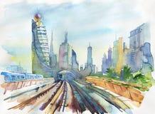 Paisaje urbano árabe de los emiratos de la acuarela Dé el ejemplo exhausto de Dubai, del ferrocarril y del rascacielos libre illustration