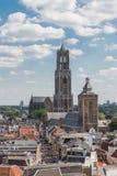 Paisaje urbano aéreo de la ciudad medieval Utrecht, los Países Bajos Foto de archivo