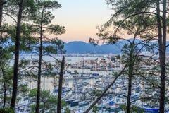 Paisaje urbano aéreo de Marmaris con los árboles de pino Imágenes de archivo libres de regalías