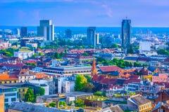 Paisaje urbano aéreo en Zagreb, Croacia Fotografía de archivo