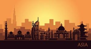 Paisaje urbano abstracto con las señales de Asia libre illustration