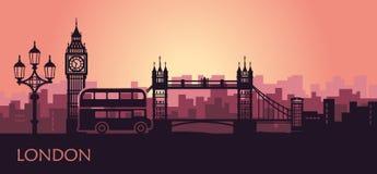 Paisaje urbano abstracto de Londres con las vistas en la puesta del sol libre illustration
