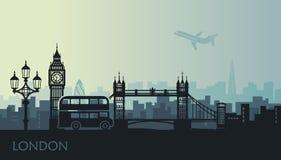 Paisaje urbano abstracto de Londres con las vistas en la puesta del sol stock de ilustración