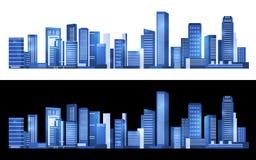 Paisaje urbano azul que construye diseño abstracto moderno horizontal del arte del vector