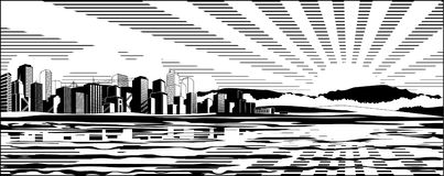 Paisaje urbano blanco y negro libre illustration