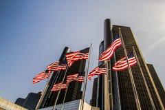 Paisaje urbano céntrico del rascacielos de Detroit Michigan imagen de archivo