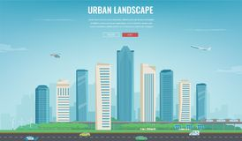 Paisaje urbano Ciudad moderna Arquitectura del edificio, ciudad del paisaje urbano Plantilla del sitio web del concepto Vector libre illustration