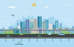 Paisaje urbano Ciudad moderna Arquitectura del edificio, ciudad del paisaje urbano Vector stock de ilustración