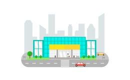 Paisaje urbano con el edificio del supermercado - vector el ejemplo plano Imagen de archivo