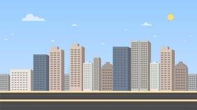 Paisaje urbano con el ejemplo del vector del fondo de la calle principal y del cielo Los edificios ajardinan Paisaje urbano diurn ilustración del vector