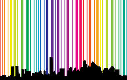 Paisaje urbano con el fondo del espectro stock de ilustración